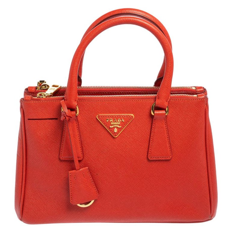 Prada Flame Saffiano Lux Leather Small Double Zip Tote For Sale