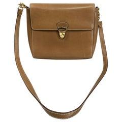 Prada Flap Front Saddle Tan Leather Shoulder Bag Gold Hardware
