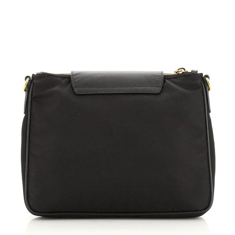 Women's or Men's Prada Flap Zip Messenger Tessuto with Saffiano Leather Small For Sale