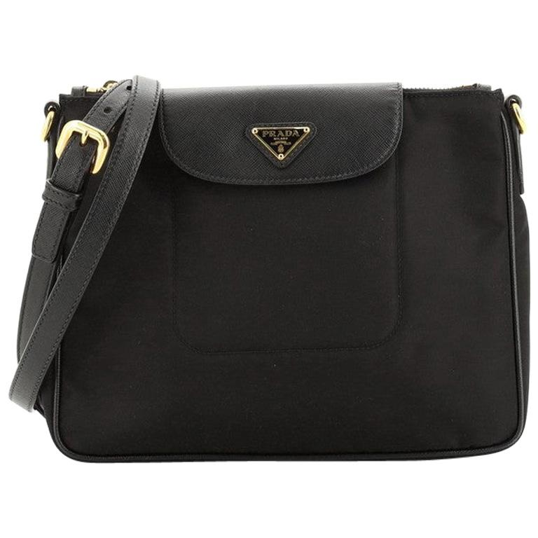Prada Flap Zip Messenger Tessuto with Saffiano Leather Small For Sale