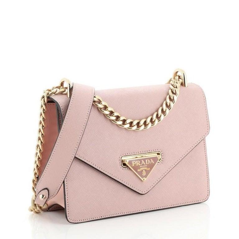 Beige Prada Flip Lock Chain Shoulder Bag Saffiano Leather Small