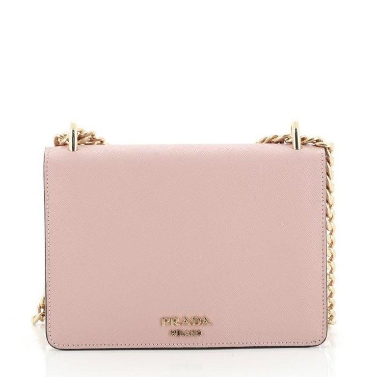 Prada Flip Lock Chain Shoulder Bag Saffiano Leather Small In Good Condition In New York, NY
