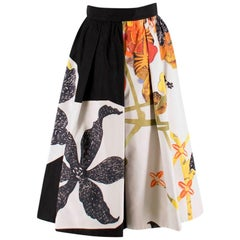 Prada Floral Faille Silk Midi Skirt XXS 36