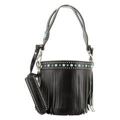 Prada Folk Bucket Bag Embellished City Calfskin with Fringe Medium