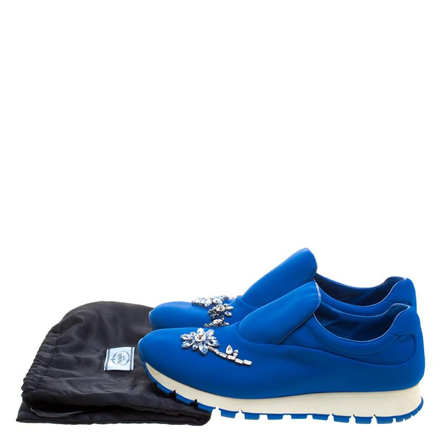 a0f052256b9 Prada For Harrods Blue Nylon Limited Edition Catch Me You Can Crystal Size  38.5