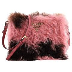Prada Frame Shoulder Bag Fur with Saffiano Leather Small