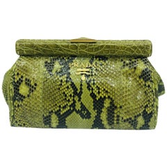 Prada Frame Snakeskin Clutch Bag Green and Gold Hardware - Python