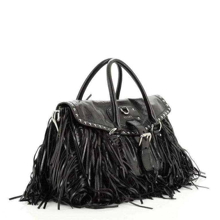 Prada Fringe Flap Top Handle Bag Studded Vitello Shine Medium In Good Condition For Sale In New York, NY