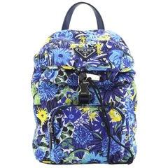 Prada Front Pocket Backpack Printed Tessuto Small