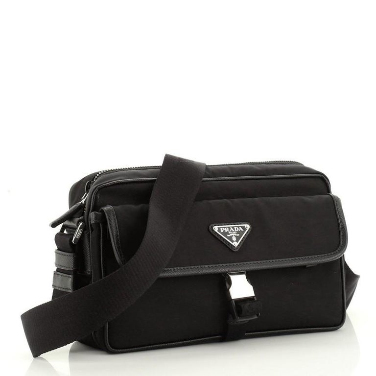 Prada Front Pocket Camera Bag Tessuto with Saffiano Medium In Good Condition For Sale In New York, NY