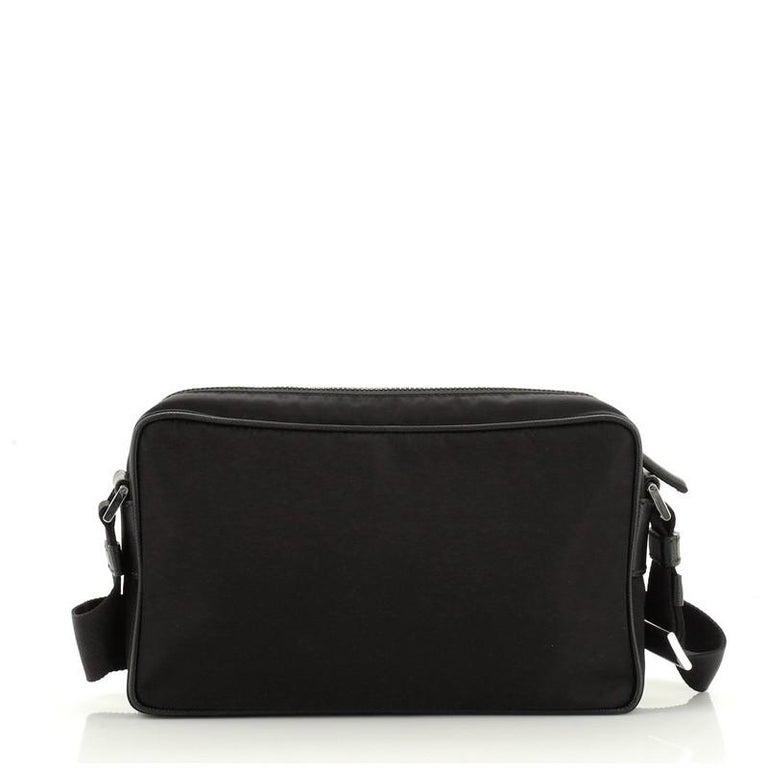 Women's or Men's Prada Front Pocket Camera Bag Tessuto with Saffiano Medium For Sale