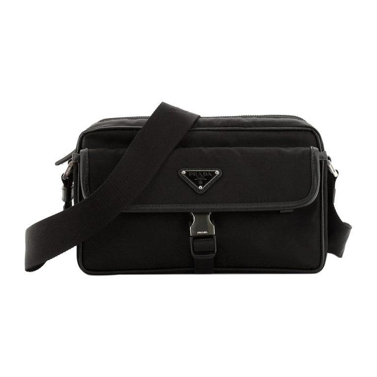 Prada Front Pocket Camera Bag Tessuto with Saffiano Medium For Sale