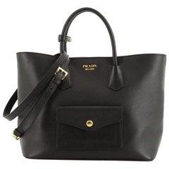 Prada Front Pocket Convertible Tote Saffiano Leather