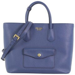 Prada Front Pocket Convertible Tote Saffiano Leather