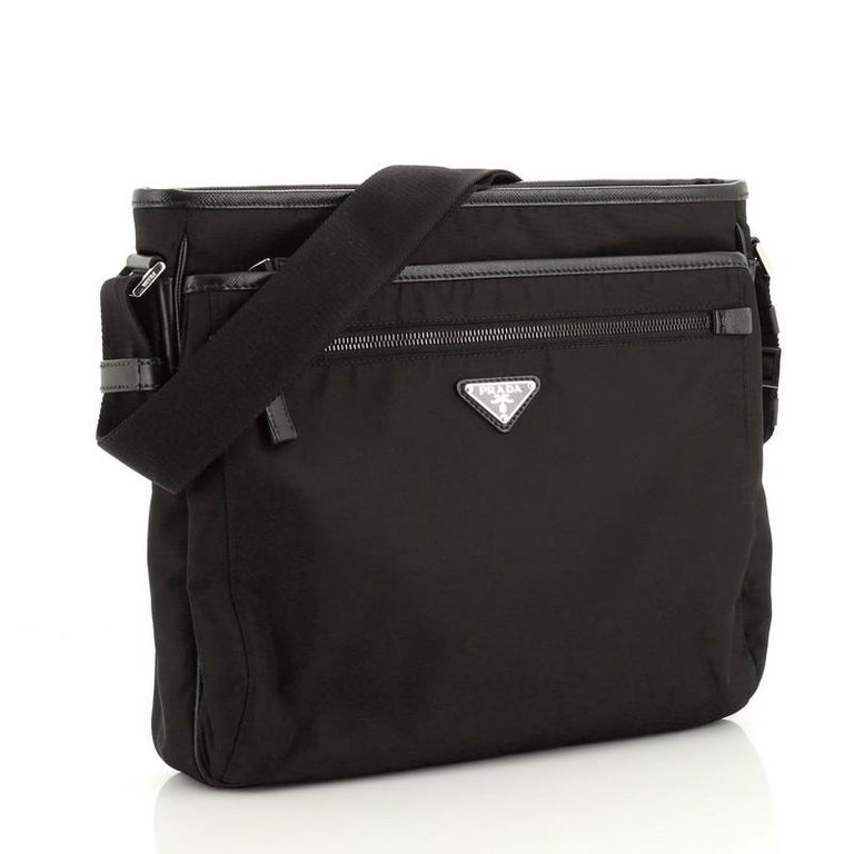 Prada Front Pocket Messenger Bag Tessuto Medium In Good Condition For Sale In New York, NY