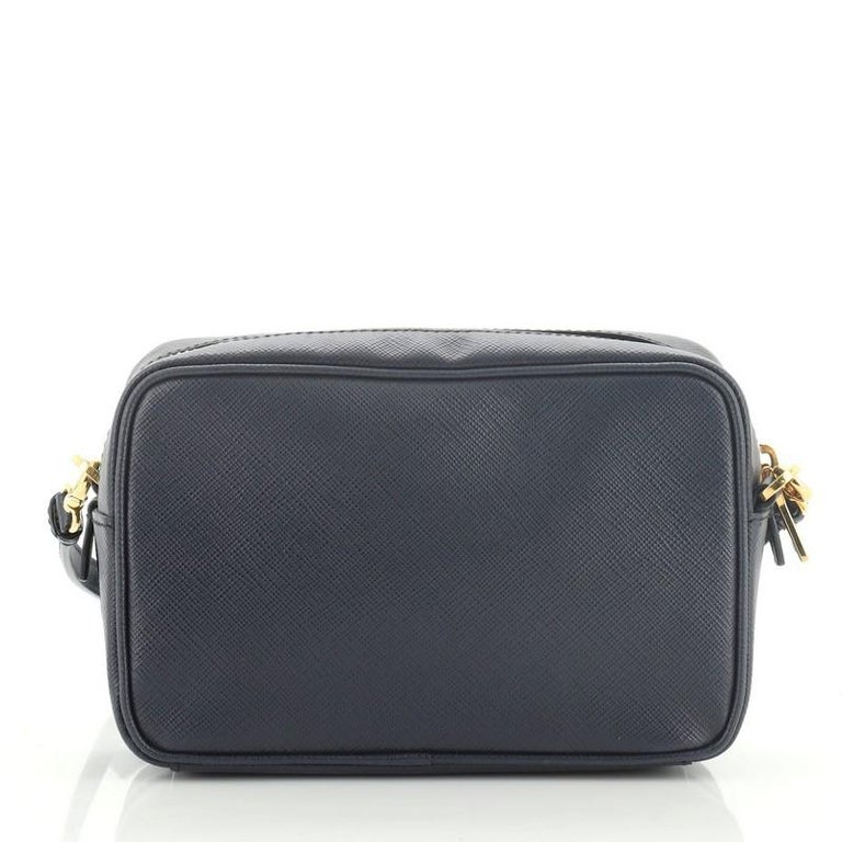 Prada Front Pocket Zip Crossbody Bag Saffiano Leather Mini In Good Condition For Sale In New York, NY