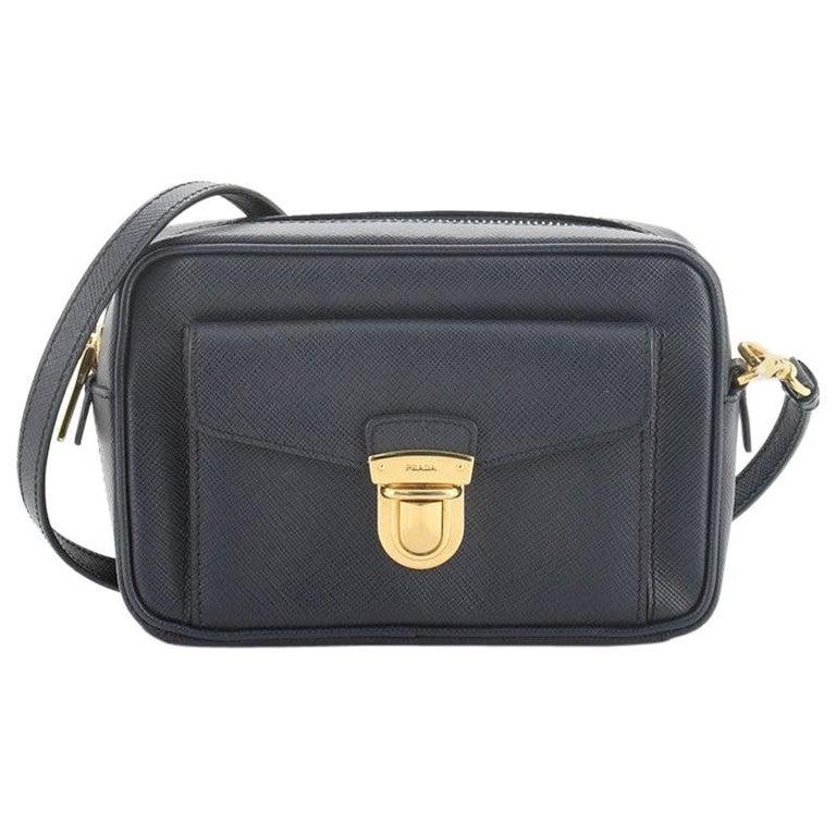 Prada Front Pocket Zip Crossbody Bag Saffiano Leather Mini For Sale