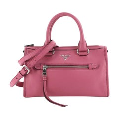 Prada Front Zip Convertible Satchel Vitello Phenix Small