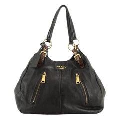 Prada Front Zip Shoulder Bag Cervo Antik Leather Medium