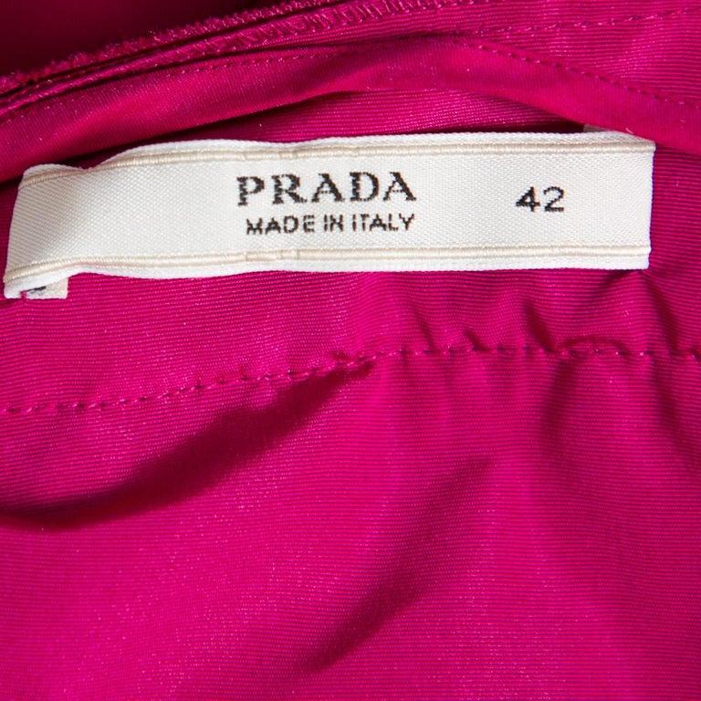 Women's Prada Fuchsia Pink Silk Ruffled Mini Wrap Dress M For Sale