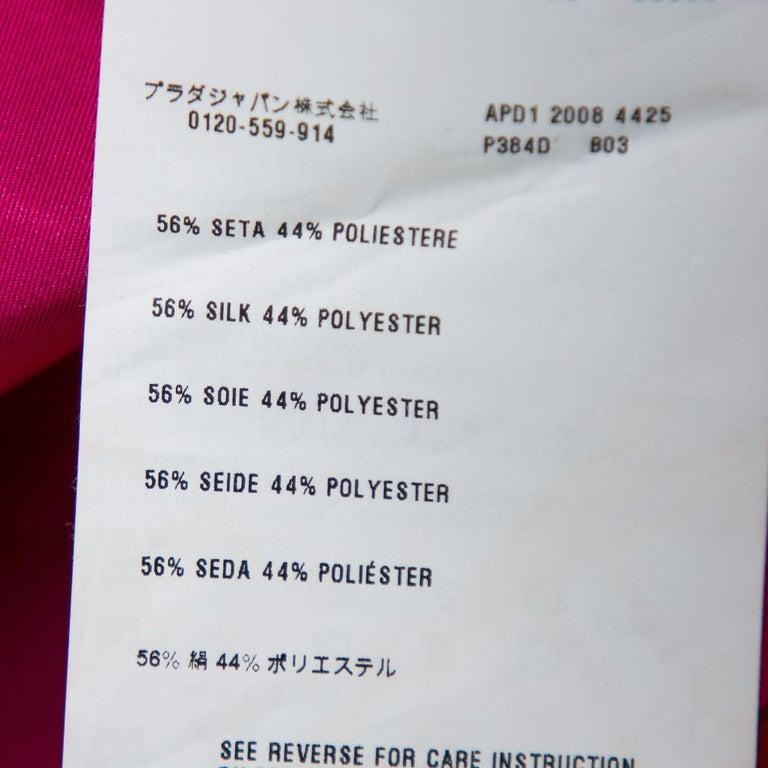 Prada Fuchsia Pink Silk Ruffled Mini Wrap Dress M For Sale 1