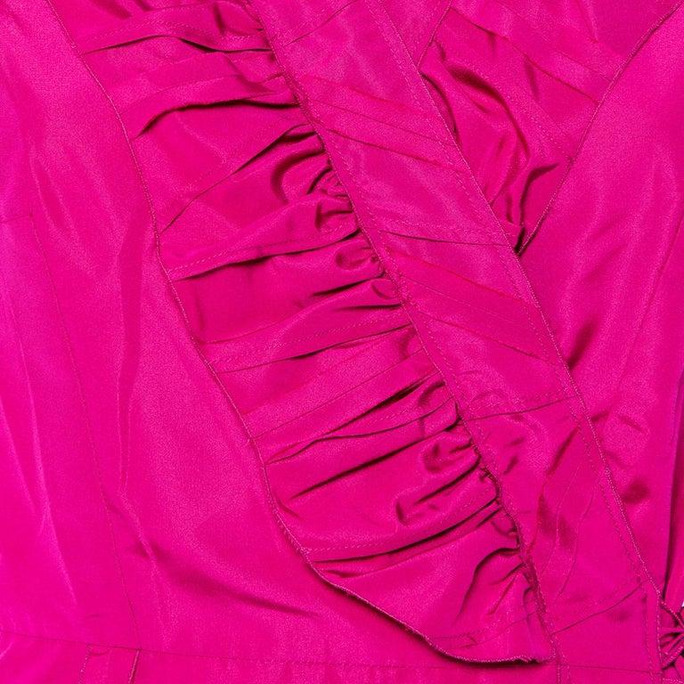 Prada Fuchsia Pink Silk Ruffled Mini Wrap Dress M For Sale 2