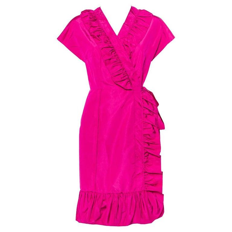 Prada Fuchsia Pink Silk Ruffled Mini Wrap Dress M For Sale