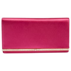 Prada Fuchsia Satin Crystal Embellished Clutch