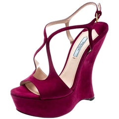 Prada Fuschia Pink Suede Leather Peep Toe Cut Out Curved Heel  Sandals Size 38.5