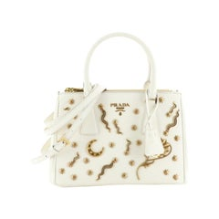 Prada Galleria Double Zip Tote Embellished Saffiano Leather Small