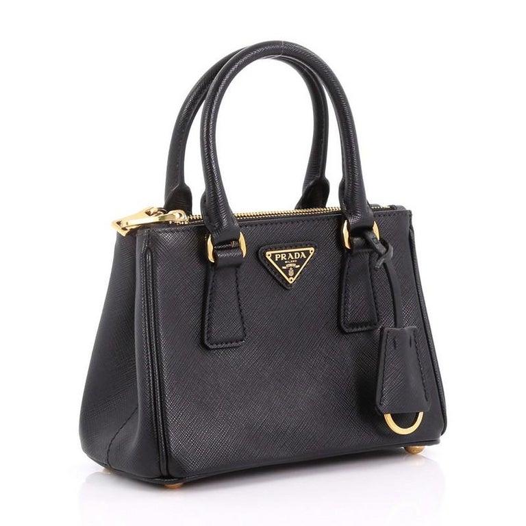 6f98736d6ea5 Black Prada Galleria Double Zip Tote Saffiano Leather Mini For Sale
