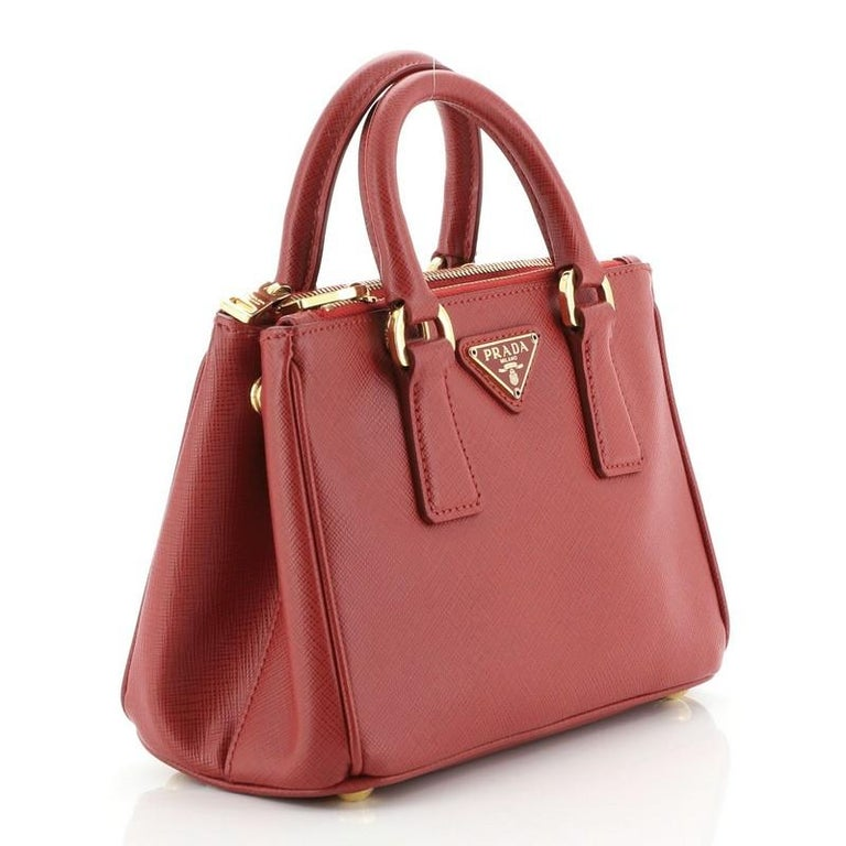 Prada Galleria Double Zip Tote Saffiano Leather Mini In Good Condition For Sale In New York, NY