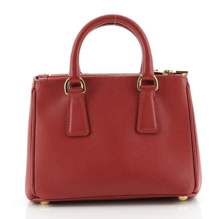 Women's or Men's Prada Galleria Double Zip Tote Saffiano Leather Mini For Sale
