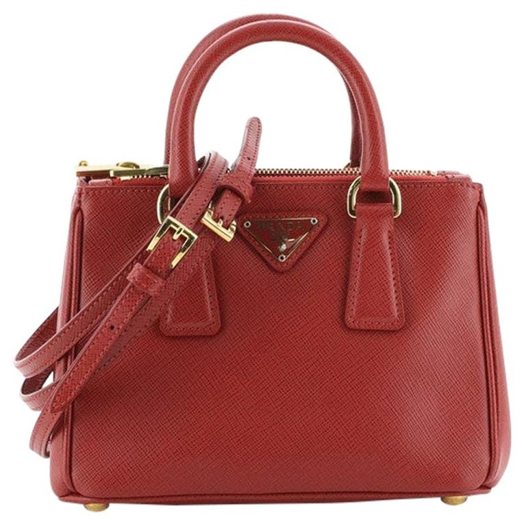 Prada Galleria Double Zip Tote Saffiano Leather Mini For Sale
