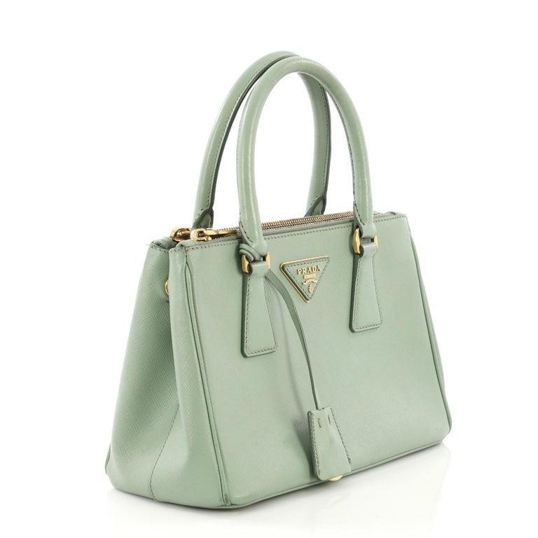 e15d406218be41 Gray Prada Galleria Double Zip Tote Saffiano Leather Small For Sale