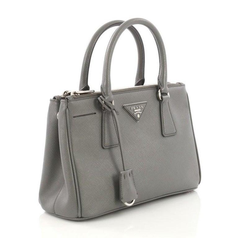 04d41a70995cfa Gray Prada Galleria Double Zip Lux Tote Saffiano Leather Small For Sale
