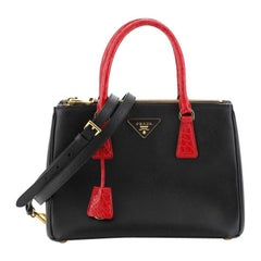 Prada Galleria Double Zip Tote Saffiano Leather with Crocodile Small