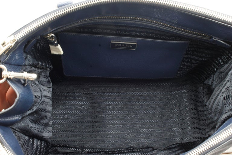 Prada Galleria Saffiano Leather Bag 1BA274 Navy Blue For Sale 3