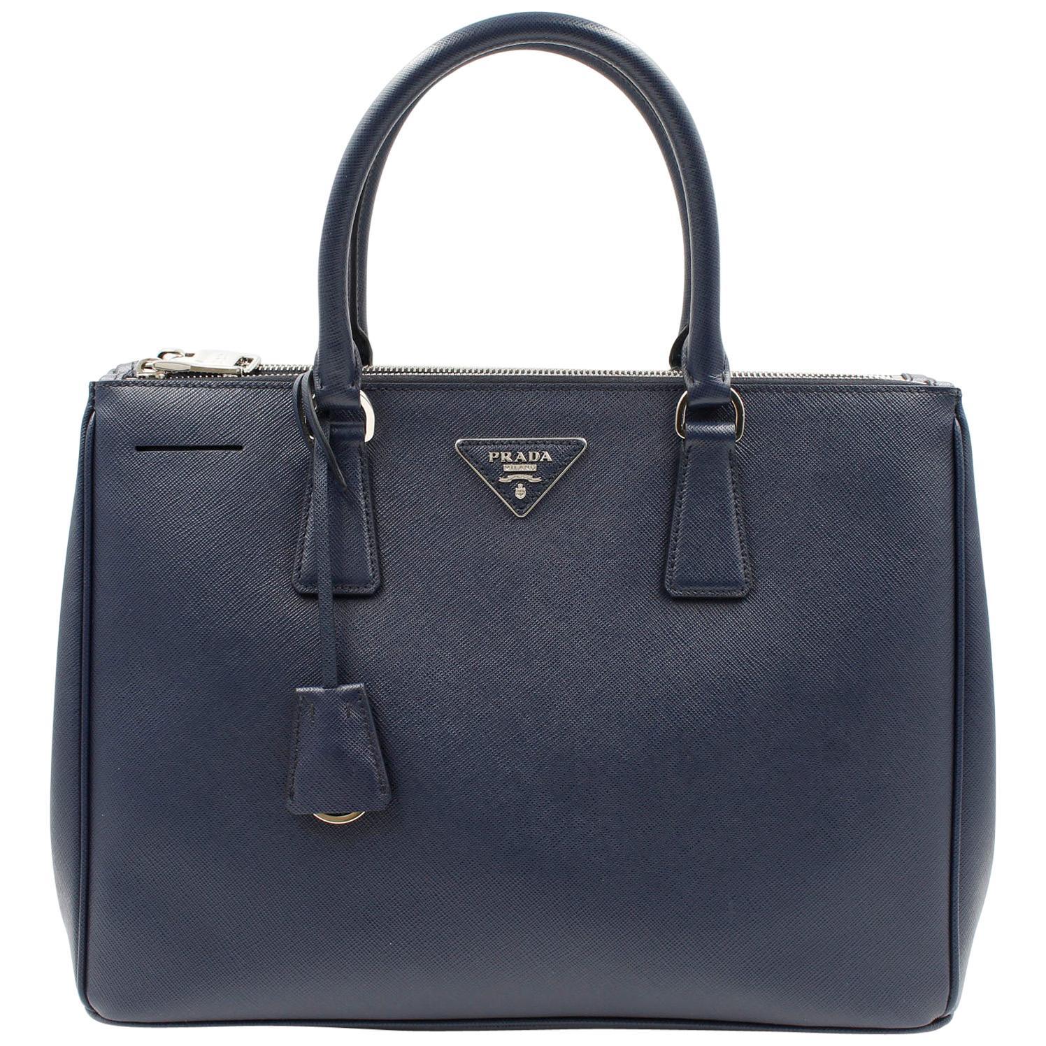 Prada Galleria Saffiano Leather Bag 1BA274 Navy Blue
