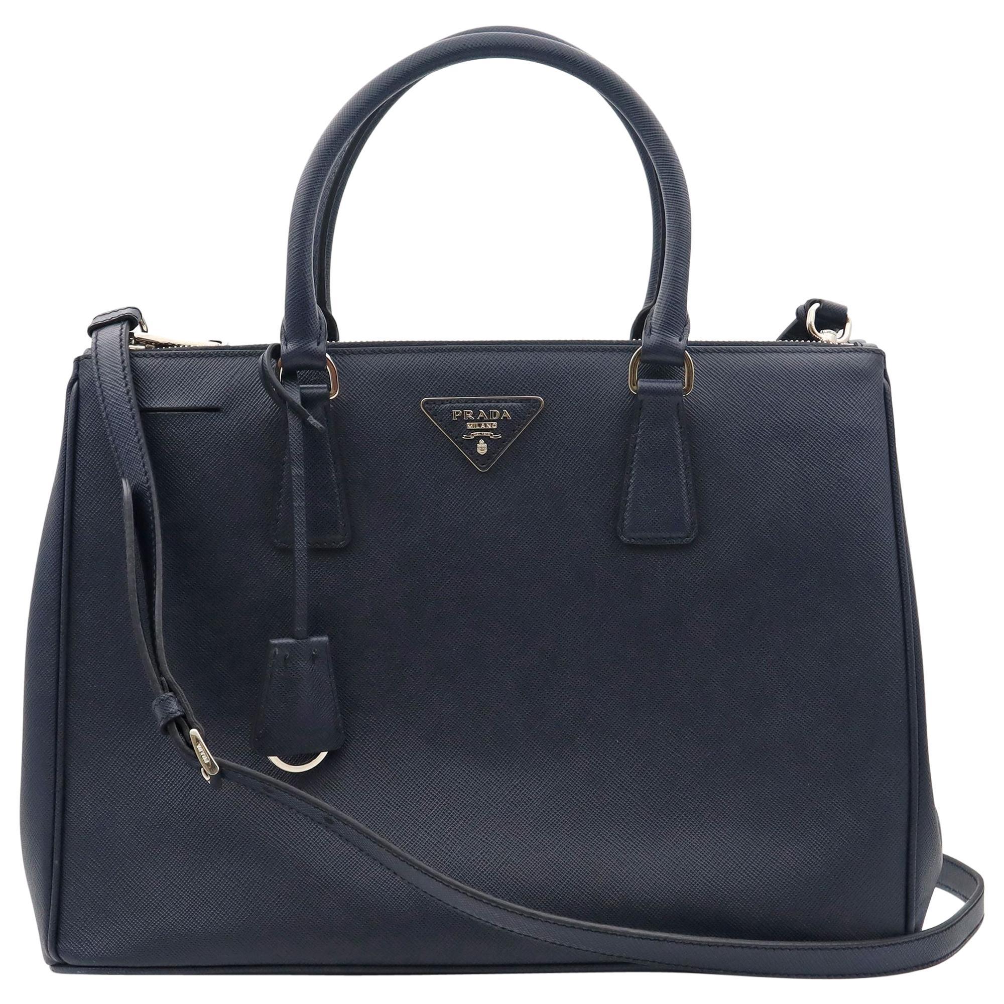 Prada Galleria Saffiano Lux Baltico Leather Silver Hardware Medium Tote Bag