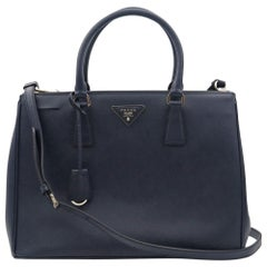 Prada Galleria Saffiano Lux Baltico Leather Silver Hardware Medium Tote Bag