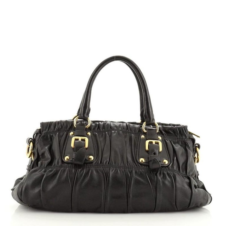 Prada Gaufre Convertible Bowler Nappa Leather Medium In Good Condition For Sale In New York, NY