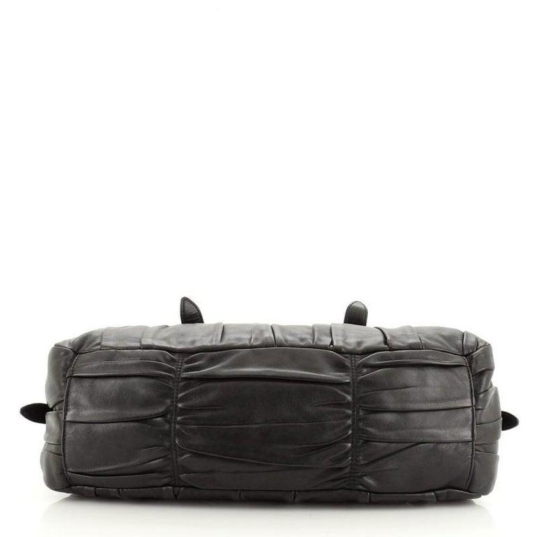 Women's or Men's Prada Gaufre Convertible Bowler Nappa Leather Medium For Sale