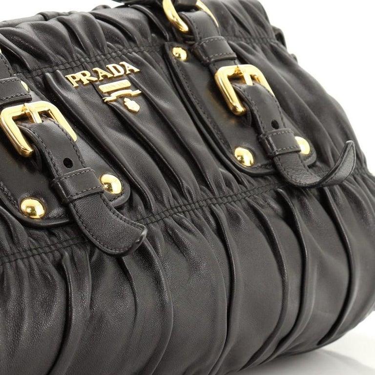 Prada Gaufre Convertible Bowler Nappa Leather Medium For Sale 2