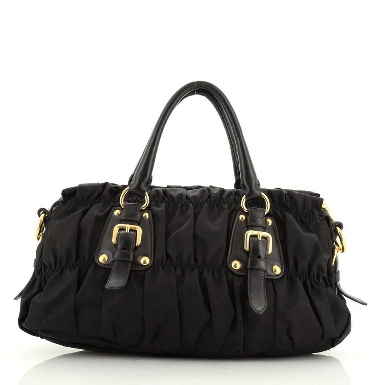 Prada Gaufre Convertible Satchel Tessuto Medium  In Good Condition For Sale In New York, NY