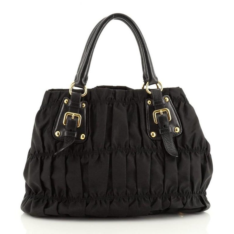 Prada Gaufre Convertible Satchel Tessuto with Leather Medium In Good Condition In New York, NY