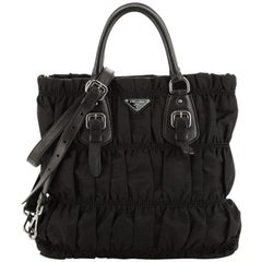 Prada Gaufre Convertible Satchel Tessuto with Leather Medium