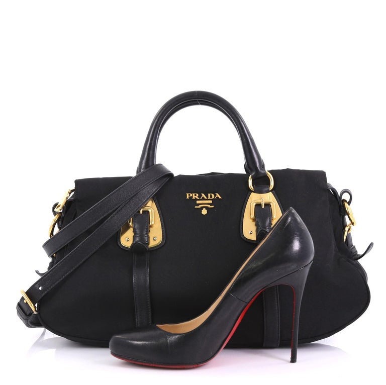 0b51dc69826e This Prada Gaufre Convertible Tote Tessuto Medium, crafted in black  tessuto, features dual rolled