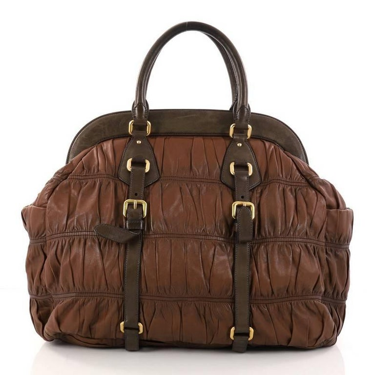 Prada Gaufre Frame Bag Na Leather Large In Good Condition For New York