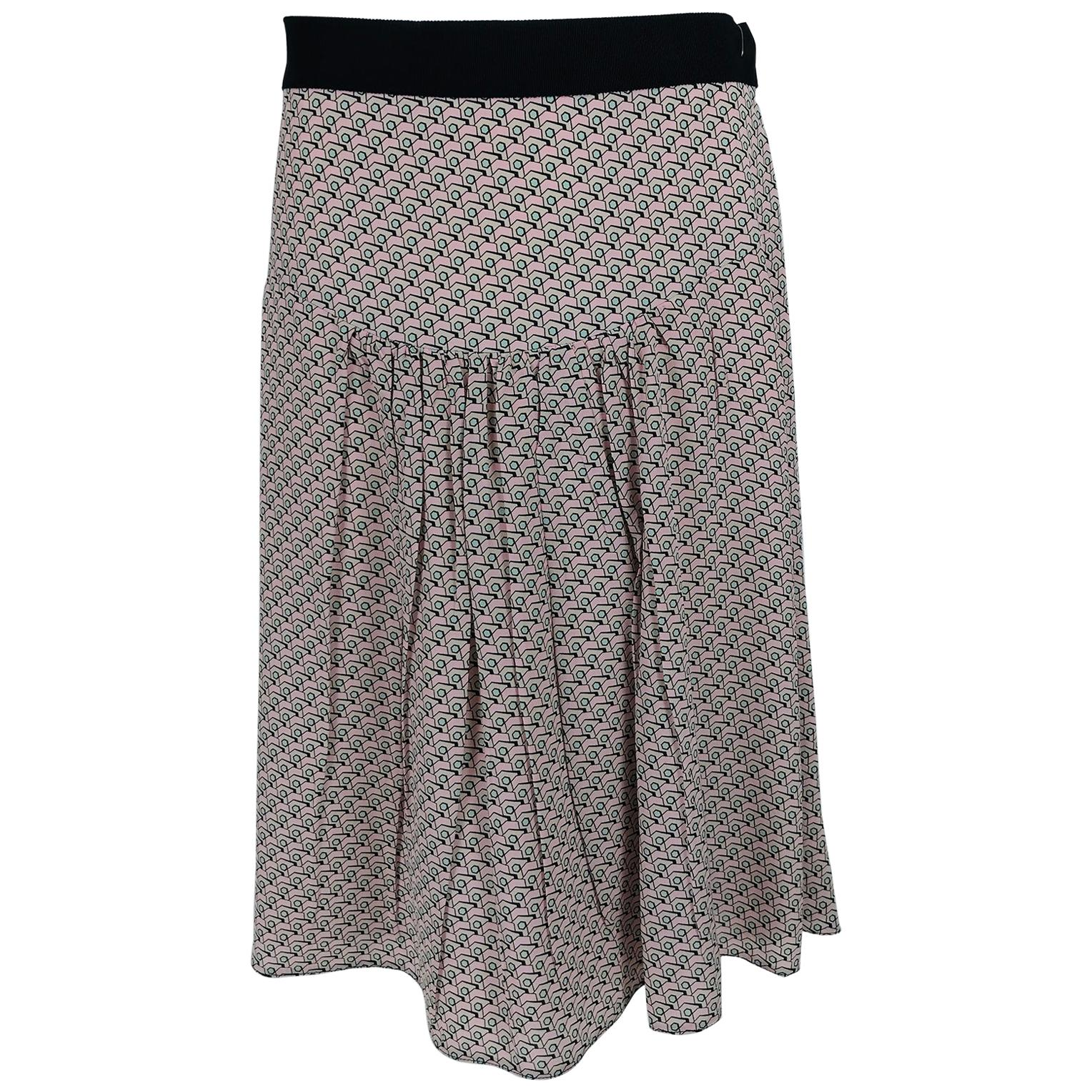 Prada Geometric Print Silk Yoke Waist Skirt  46